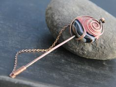 """Shawl pin, scarf pin, sweater pin, antique copper and bi-colored agate shawl pin stick, """"""""Rose of the winds"""", pink and black  striped agate by Keepandcherish on Etsy"""