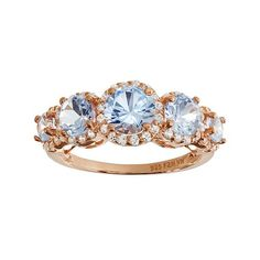 Lab-Created Aquamarine & Lab-Created White Sapphire 14k Rose Gold Over Silver 5-Stone Halo Ring