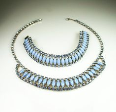 Vintage Necklace Bracelet Powder Blue Rhinestone by zephyrvintage, $95.00 #vintagejewelrysets #rhinestonejewelry #fiftiesfashion #madmenfashion #powderblue #springjewelry