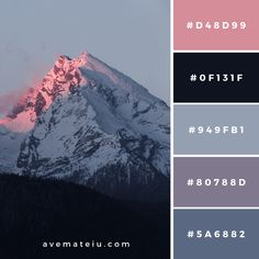 Setting sun behind the mountain Color Palette – Ave Mateiu Color Schemes Colour Palettes, Colour Pallette, Color Combos, Black Color Palette, Vintage Color Palettes, Winter Color Palettes, Color Schemes With Gray, Modern Color Palette, Nature Color Palette