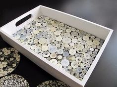 DIY Projects and Crafts Made With Buttons - Button Tray - Easy and Quick Projects You Can Make With Buttons - Cool and Creative Crafts, Sewing Ideas and Homemade Gifts for Women, Teens, Kids and Friends - Home Decor, Fashion and Cheap, Inexpensive Fun Things to Make on A Budget http://diyjoy.com/diy-projects-buttons