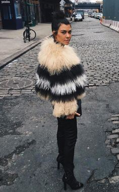 a printed fur (faux) coat