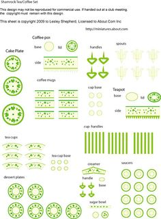 Make a Shamrock Themed Printable Dollhouse Tea or Coffee Set With A Cake Stand: List of Materials for the Shamrock Themed Miniature Dessert and Coffee/Tea Set