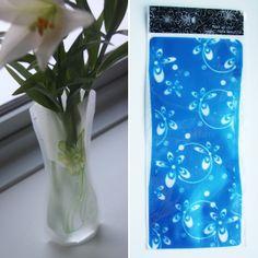 Foldbar vase - Blå med små blomster, 20,-