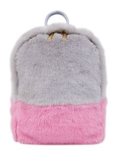 It doesn't get better or fluffier than this. Faux fur backpack with a grey body and pink accents with gold color zippers. Small zipped compartment inside. Rock it with our Cloudy Shift Dress. - 100% F