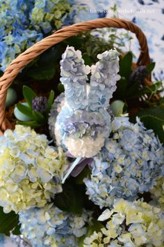 Spring blue hydrangea bunny. Sweet for a baby shower centerpeice :)