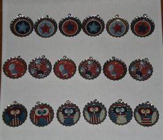 Set of 6  Patriotic Owls Ladybugs Stars July 4 USA by ChooseMoose