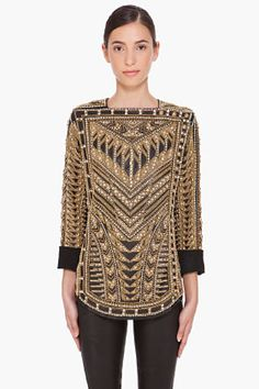 BALMAIN Handmade Embroidered Runway Blouse