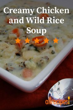 Instant wild rice is cooked in chicken broth with shredded chicken, then combined with thickened cream for a quick soup. Chicken And Wild Rice, Wild Rice Soup, Creamy Chicken, Homemade Chicken Stock, Leftover Rotisserie Chicken, Star Food, Soups And Stews, Allrecipes, Soup Recipes