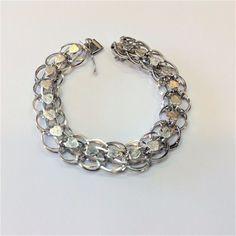 """Vintage Sterling Silver Forstner Heart Charm Bracelet 1/2"""" Wide / 7.5 inches #Forstner"""