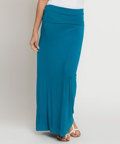 Another great find on #zulily! Teal Fold-Over Maxi Skirt by Caralase #zulilyfinds