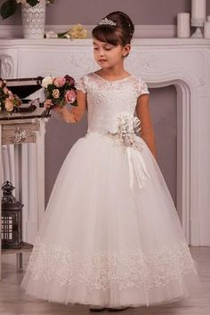 Junior Pageant A Line Party First Communion Ball Gown Dress Flower Girl Dress Sale Flower Girl Dress White From Feifei188, $36.65| Dhgate.Com