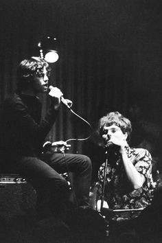 Van with Jim Morrison at the Whisky A Go Go Club in LA, June 18 1966. Jim joined the headline act, Van's band Them to sing the finale 'Gloria'!