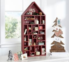 red painted house advent calendar Pottery barn Christmas decoration