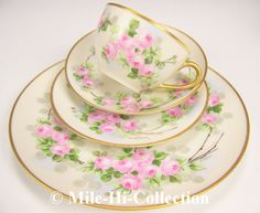 Limoges France Hand Painted Roses Cup Saucer Desert Dinner Plate Setting