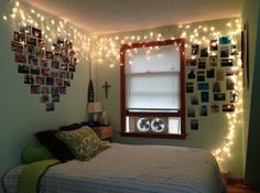 Love the lights and heart on the wall.