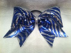 "3"", 3 inch cheer cheerleader bow with blue and silver zebra sequin print TEAM BOWS on Etsy, $15.00"