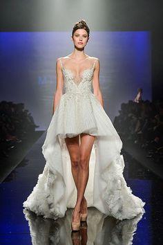 Mikael D Spring 2014 George Pimentel Low V-neck High-Low Wedding Dress