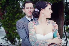 who says you cant have tattoos and still look beautiful in a wedding dress?