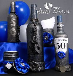 Pintado Botellas – Oferta | ArteClases.com Party Ideas, Bottle, Home Decor, Painted Bottles, How To Paint, Upcycling, Towers, Invitations, Manualidades