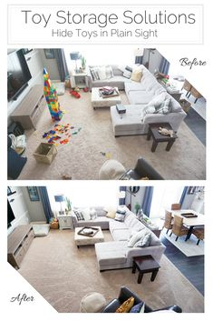 Create areas to quickly and efficiently hide toys away in your main living spaces without compromising design and functionality   EH Design