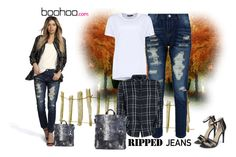 """""""""""RIP IT UP WITH BOOHOO"""" by chris-hawkins ❤ liked on Polyvore featuring Boohoo, rippedjeans, boohoo and polyvoreeditorial"""