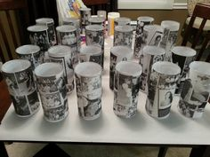 high school reunion DIY photo centerpieces newspaper boards and decorations