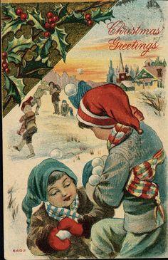 vintage Postcard Christmas Greetings Children Play w by maclancy
