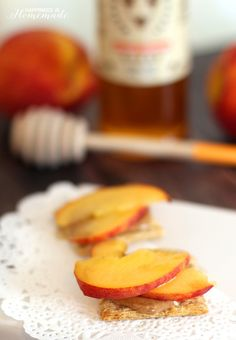 Peach and Orange Blossom Honey Topped Triscuit Crackers