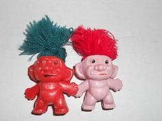 2 Vintage Pencil Topper Gumball Machine Trolls Yarn Hair Large Wart on Red Troll
