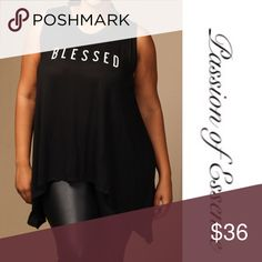 🆕1XL Plus Size Black Blessed Sleeveless Loose Top ❗️🆕 Item In Stock 🆕 Blessed Black Sleeveless Loose Fitted Top made in the USA 95% Rayon 5% Spandex.  These shirts are really nice for your Women's Ministires, Church Groups, Family Day. Contact me if you need a large quantity. Passion of Essense Tops Tees - Short Sleeve