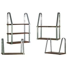 Shop for Urban Trends Collection Brown Finish Wood 4-piece Rectangular Wall Shelf with Metal Braces (3 Tier, 2 Tier and 2 x 1 Tier). Get free shipping at Overstock - Your Online Home Decor Outlet Store! Get 5% in rewards with Club O! - 21170865