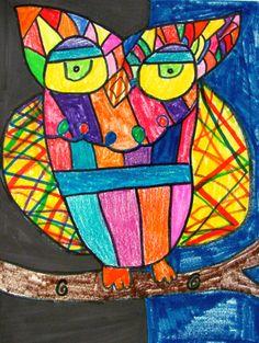 3rd Grade Owls- marker and crayon