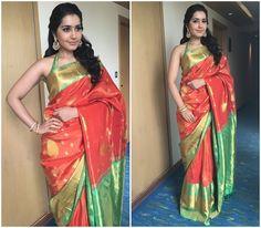 Raashi Khanna in silk saree and sleeveless blouse for Kalamandir 25th store launch