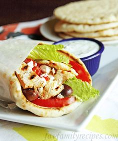 Chicken Gyros with Tzatziki. I will have to find a alternative for flatbread but this sounds so yummy
