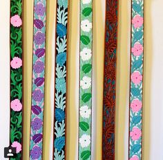 Set Of Painted Leather Belts -HallieC Tooled Leather, Leather Belts, Leather Tooling, Painting Leather, Custom Paint, Rodeo, Floral Tie, Cuffs, Passion
