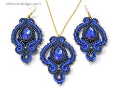 Sapphire Eye set is a jewelery for any occasions. The filigree embroidery and large crystals are soft and elegant. Using materials: Swarowski crystals, glass Toho beads, , soutache. Length of pendant: 5 cm. Wide of pendant: 3 cm Circumference of chain: 45 cm Length of earrings: 5 cm Wide
