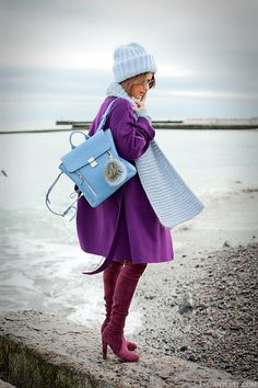 3.1 phillip lim blue pashli backpack, galant girl, purple max mara coat #PashliBag #ColorBlocking #ColorBlock