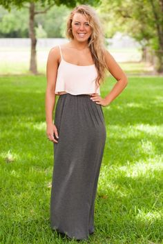 Love and Peace Maxi Dress-Gray/Light Pink