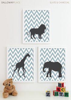 Baby Nursery Art, Safari Animal Chevron Nursery Print, Jungle Zoo Children Kids Wall Art Kids Room Baby Nursery Decor - Three 8x10. $43.00, via Etsy.