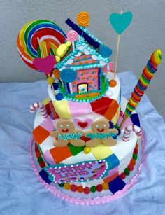 Candy Land themed Happy Birthday Cake