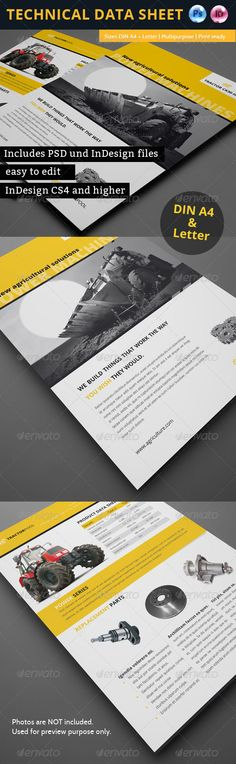 Technical Data Product Flyer Templates | Flyer Template, Brochures