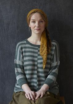 Promenade is an oversized striped sweater, knit two colours of Erika Knight Studio Linen. Order the knitting pattern and yarn now at Tangled Yarn.