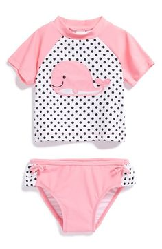 'Whale' Two-Piece Rashguard Swimsuit for Baby Girls. Baby Bikini, Baby Swimwear, Baby Girl Swimsuit, Baby Girls, Baby Swimming, Baby Blog, Trendy Baby, Baby Clothes Shops, Baby Dress
