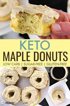 The best keto maple donuts are low carb sugar-free gluten-free AND moist and delicious. Perfect for parades and summer activities. The post Keto Maple Donuts appeared first on Win Dessert. Low Carb Donut, Low Carb Keto, Donuts Keto, Low Carb Doughnuts, Sugar Free Donuts, Donuts Donuts, Low Carb Desserts, Low Carb Recipes, Cheap Recipes