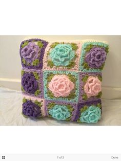 Granny squares with flowers cushion