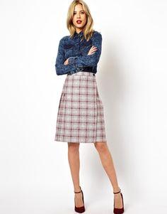 ASOS Midi Skirt in Plaid Check
