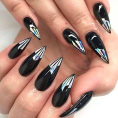 Best black stiletto nails designs for your Halloween - Nail Art Designs Fancy Nails, Love Nails, Trendy Nails, Nail Bling, Nail Art Designs, Black Stiletto Nails, White Nails, Nail Swag, Black Nails