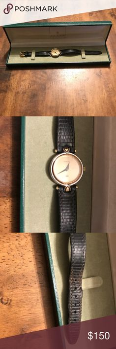 Gucci watch Small Silver and Gold Tone Gucci watch with alligator straps. Works and used. Gucci Jewelry