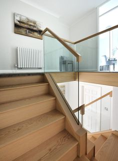 A contemporary, oak and glass staircase with a galleried landing that was in keeping with the newly renovated home. Staircase Contemporary, Modern Staircase, Staircase Design, House Staircase, Staircase Railings, Stairways, Interior Balcony, Interior Stairs, Glass Balcony